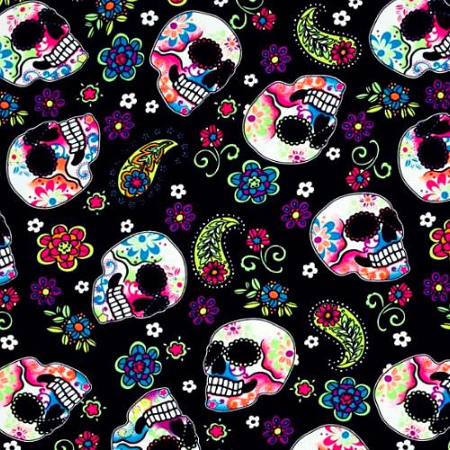 Sugar Skulls Spandex, Skulls fabric, sugar skulls fabric