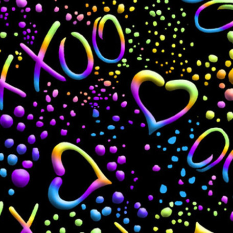 Neon Hugs and Kisses Fabric | Hugs & Kisses XXOO