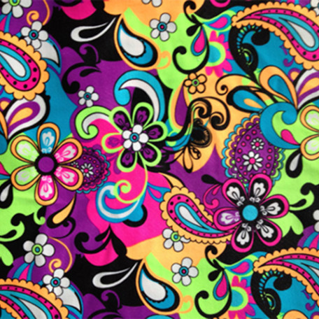 Bright and bold neon colors make up this floral and paisley spandex wet print.