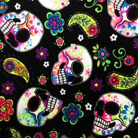 Colorful Skulls on Black Print | Sugar Skulls