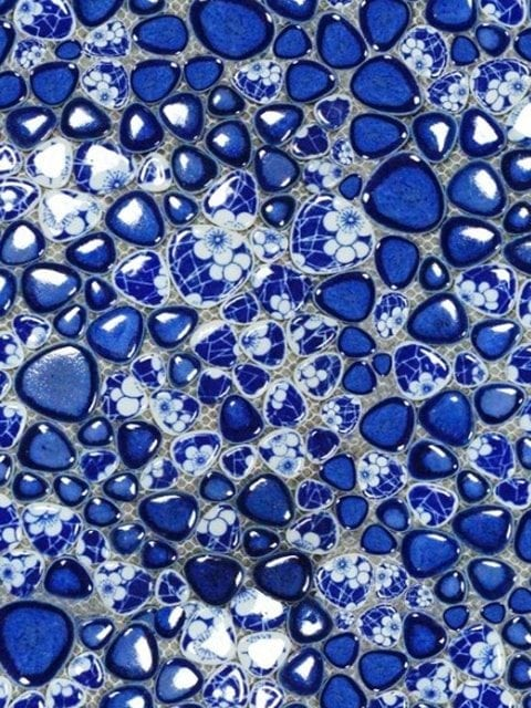 Blue Marble Rocks Spandex, Rock fabric, discount fabric