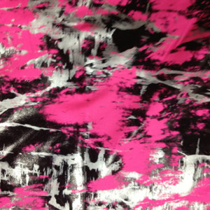 Abstract Graffiti Print Spandex black-silver-foil-chaos-pattern-hot-pink-fabric