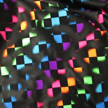 Rainbow Checkered Fabric | Rainbow and Black Checkered
