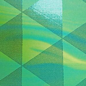 Geometric Foil Tie Dye Stretch Triangle shiny foil on blue/green tie dye