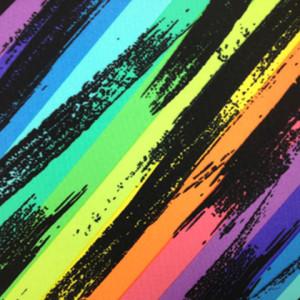 Neon Rainbow Streak Spandex| Rainbow Paintbrush Stretch Fabric