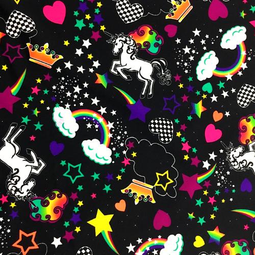 A Girl's Dream Spandex, Unicorn fabric, unicorn print fabric, A Girl's Dream Spandex