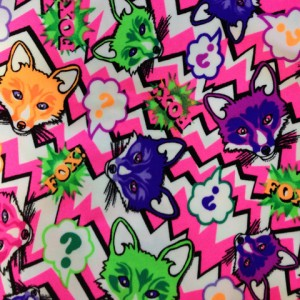 What does the fox say? Spandex stretch print with Fox heads.