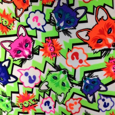 Floating neon fox heads on lime chevron spandex