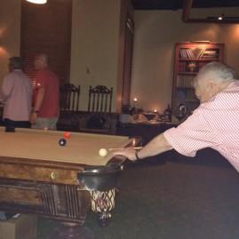 Brian shooting pool!