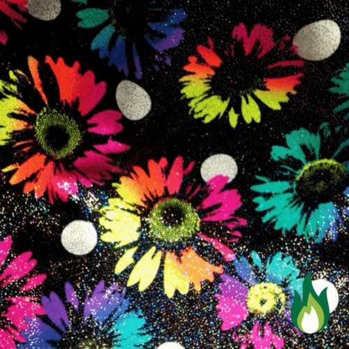 Shimmer Rainbow Daisies Spandex, floral fabric, hologram fabric