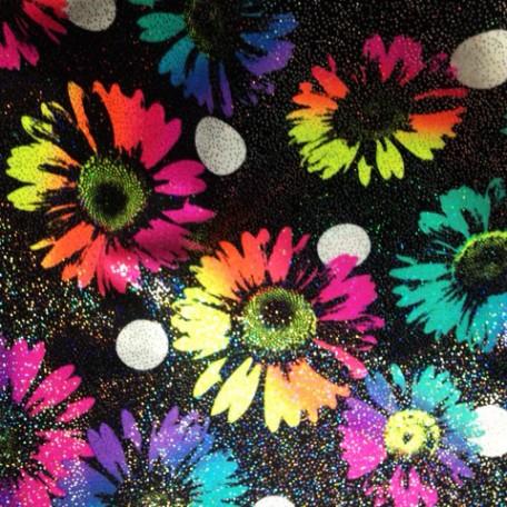 Shimmer Rainbow Daisies on Black Print   Polka Dot Daisy Hologram Print