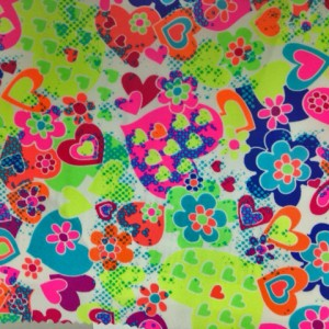 Graffitit red hearts on tricot spandex