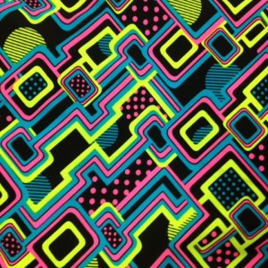 hot pink, lime, on black Neon Circuit Fabric | Half Pipe tricot spandex