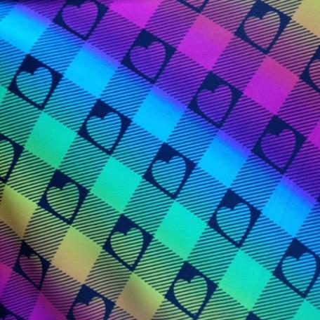Rainbow Plaid with Hearts Fabric   Rainbow Heart Plaid