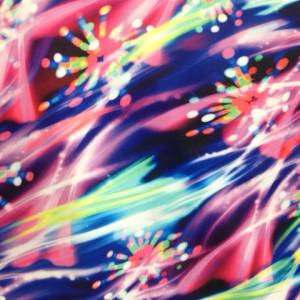 Neon Fireworks Print | Paintbrush Firework Stretch Fabric