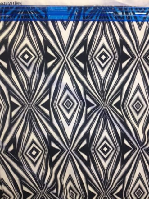 Reflector Spandex, Black and white fabric, geometric fabric