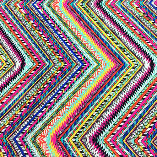 Ethnic Zig Zag Spandex, Zig zag fabric, chevron fabric, tribal fabric