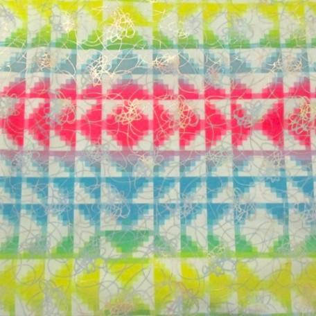 Neon Checkered Fabric | Neon Checks w/ Holo
