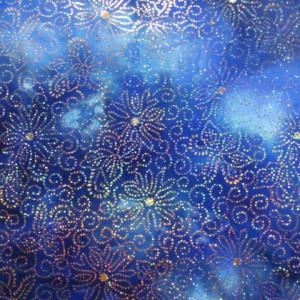 Blue Tye-Dye with Sparkle Flowers |Floral Night Sky