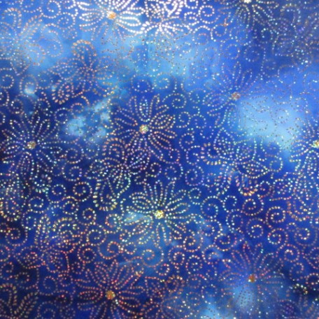 Blue tye dye with sparkle flowers fabric pine crest fabrics for Night sky material