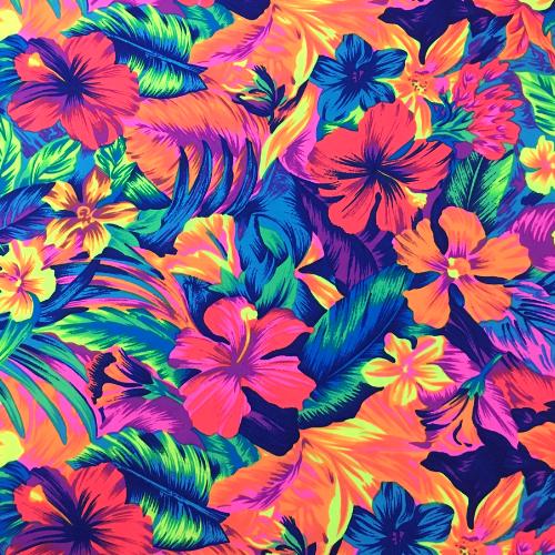 Tahitian Floral Spandex, Hawaiian fabric, floral fabric