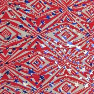 Aztec Pattern with Stars Fabric | Patriotic Star Foil Prints
