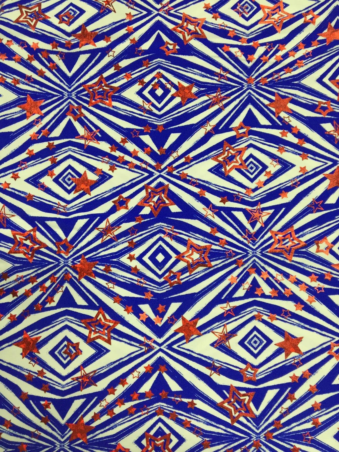 Aztec pattern with stars fabric pine crest fabrics for Star design fabric