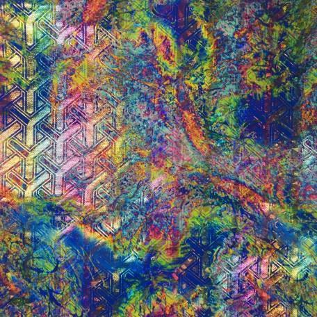 Bright Tie Dye Foil Spandex   Vapor Veil