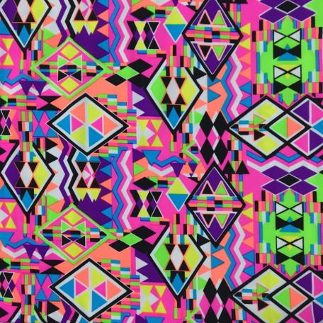 Neon Geometric Aztec Spandex