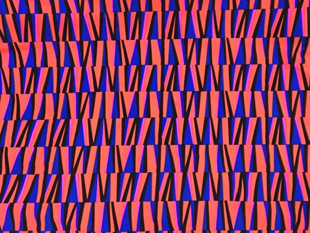 Orange Blue Spandex Print
