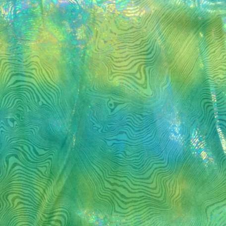 Green Blue Tie Dye Silver Foil