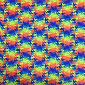 Neon Houndstooth Digital Printed Spandex