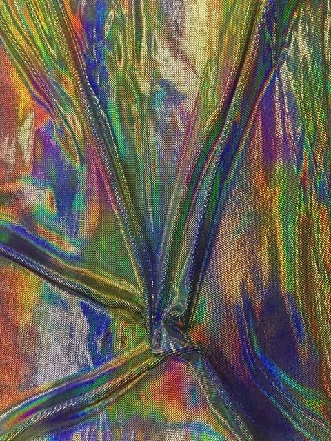 Velvet Rainbow Spandex, Hologram Velvet, Hologram fabric