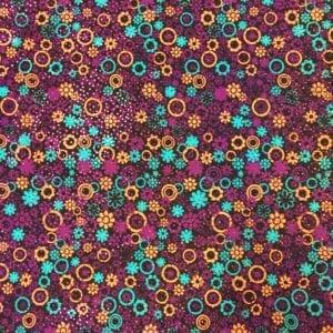 Floral Foil Printed Spandex | Bubble Flowers