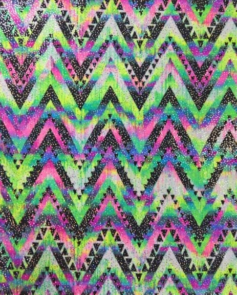 Neon Mountains Spandex, Chevron fabric, neon print fabric