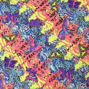 Neon Butterfly Bird Printed Spandex