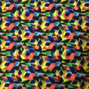 Multicolored Geometric Printed Spandex