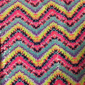 Neon Blurred Zig Zag Print
