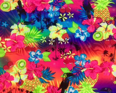 Tropical Fruits Glow in the dark Printed Spandex