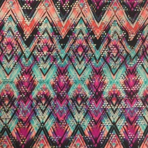 berry zig zag spandex, tribal printed spandex, tribal print, zig zag fabric, geometric fabric