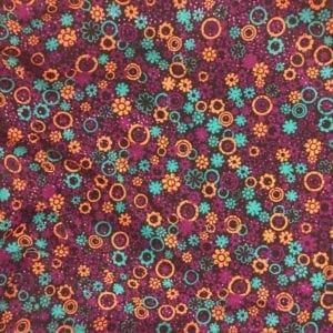Dots and Flowers - Orange, printed spandex