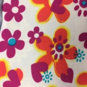 Bright Florals and Hearts printed spandex