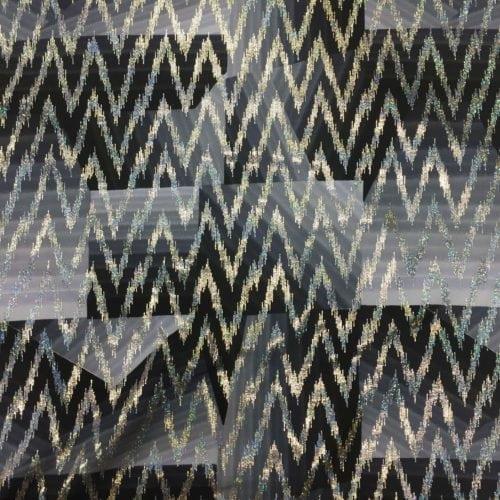 Grey Monochrome Chevron Spandex, chevron fabric, grey print fabric