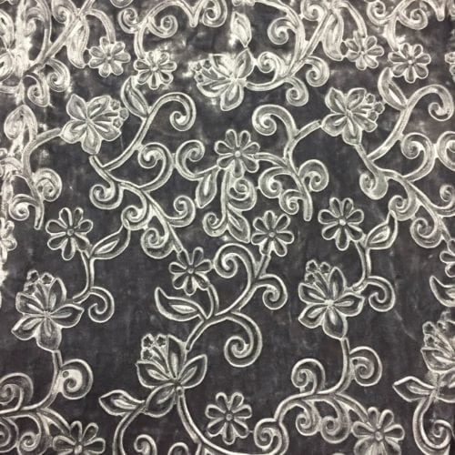 Grey Embossed Floral Velvet Spandex, Embossed velvet fabric, velvet fabric