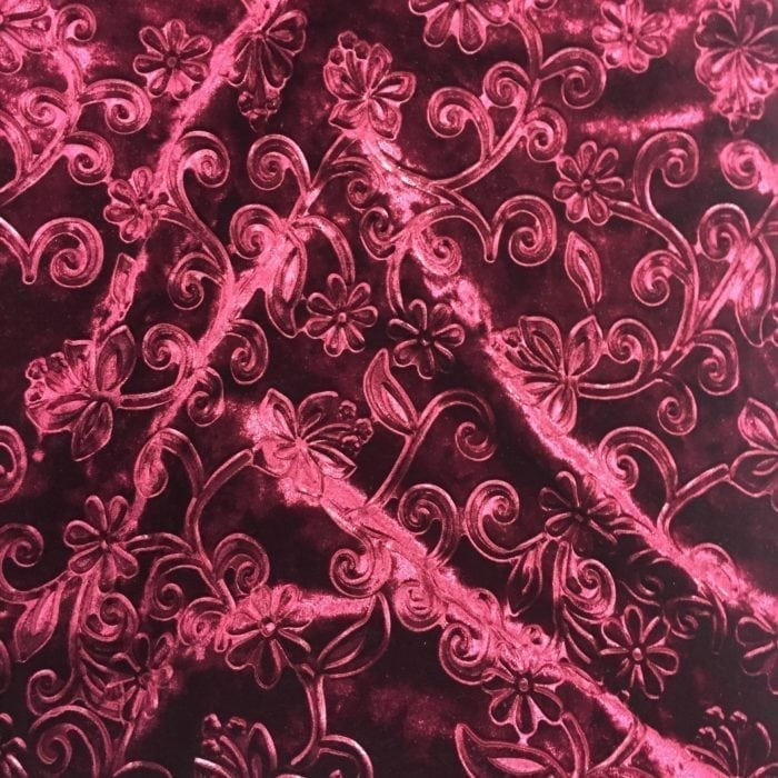 Burgundy Embossed Floral Velvet Spandex, Embossed velvet fabric, velvet fabric