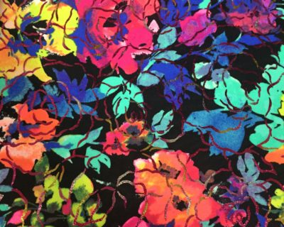 auction, Neon Blossom Foil Fabric