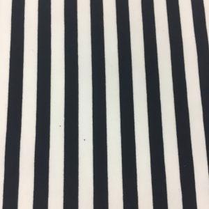 Cotton Poly Lycra Black and white Stripes 1/2″