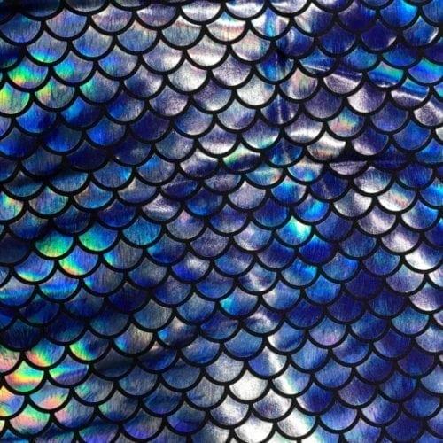 Blue Hazy Mermaid Spandex, Mermaid fabric, fish scale fabric