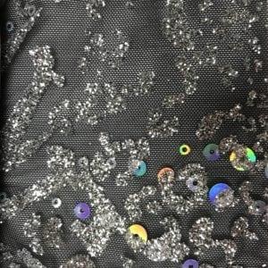 Black Mesh with Silver Sequins, black mesh, dancewear fabric, dancewear spandex, costume spandex fabric