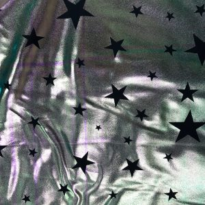 Holographic Metallica Stars, holographic fabric, holographic spandex, iridescent star fabric , trendy fashion fabric, trendy star fabric